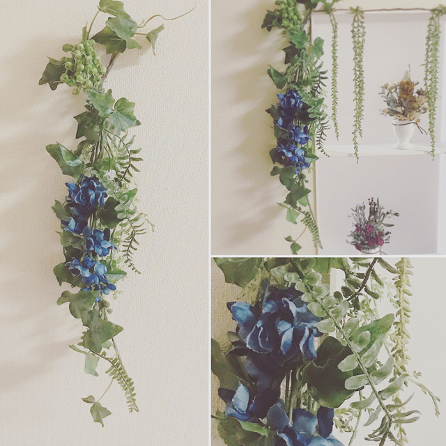 寂しくなりがちなお部屋の壁は「造花の壁掛け」で華やかさを演出
