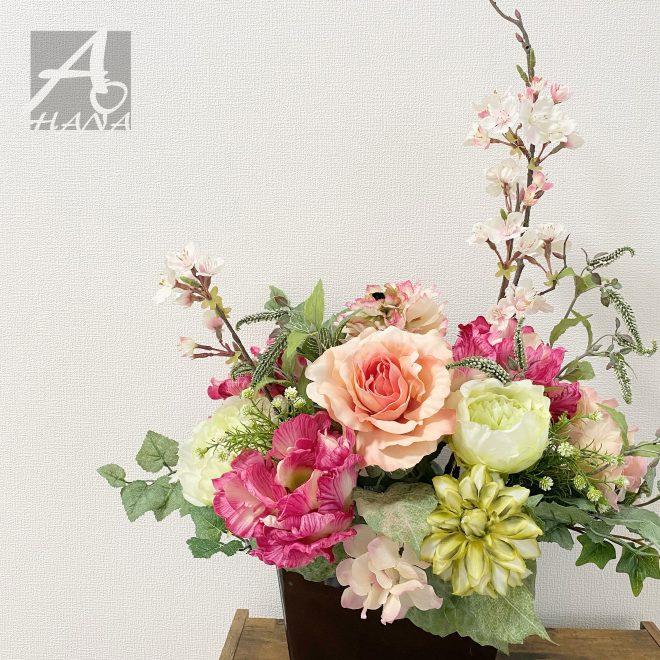 春のレンタルフラワー(造花アレンジメント)