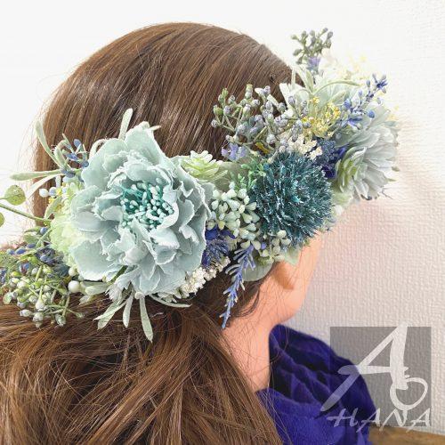 髪飾り(ブルー×ホワイト)